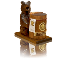 Souvenir with honey Bear on stand with stub