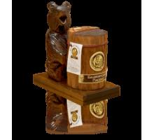 Подарок с липовым мёдом Медведь на подставке с пнём 300 гр.