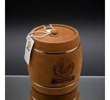 Souvenir with honey dark keg with hoop 2 kg
