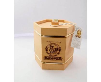 Souvenir with honey Barrel dark 6 sides 300 gr.