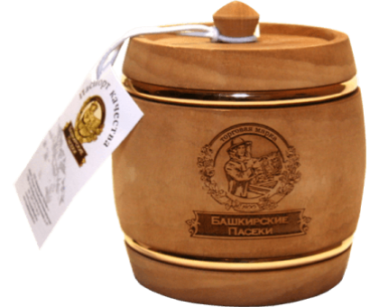 Souvenir with honey dark keg with hoop 500 gr.
