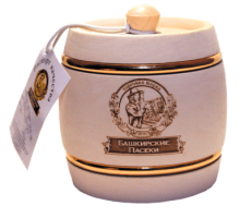 Souvenir with honey White keg with hoop 100 gr.