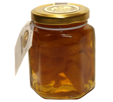 Flower honey with dried apricots, 180 gr.  Pot
